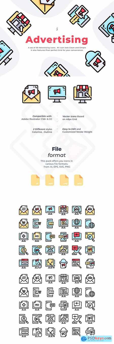 30 Advertising Icon set » Free Download Photoshop Vector