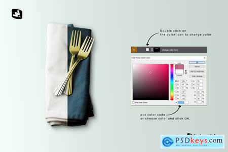 Dinner Napkin With Cutlery Mockup 5183051